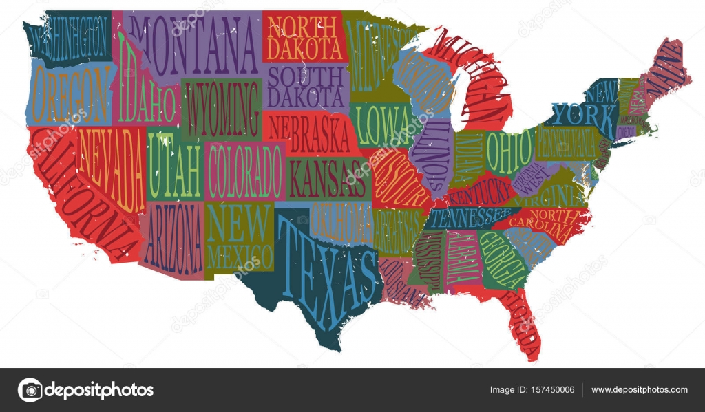 USA map with states   pictorial geographical poster of America  hand     USA map with states   pictorial geographical poster of America  hand drawn  lettering design for
