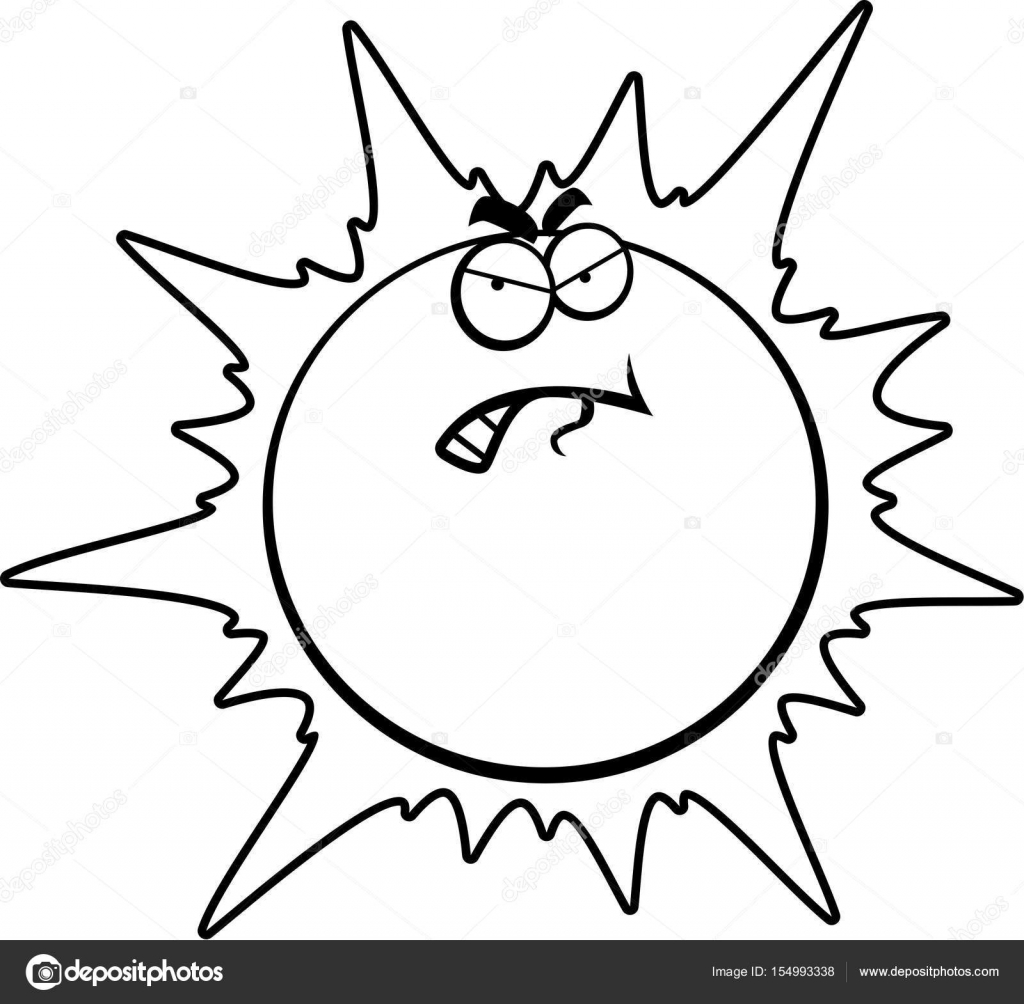 Cartoon Angry Sun