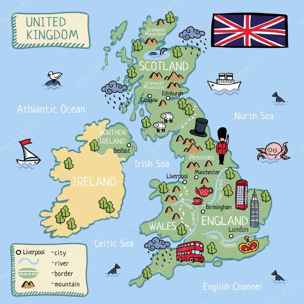 Dessin Anime Carte Vectorielle Royaume Uni Angleterre