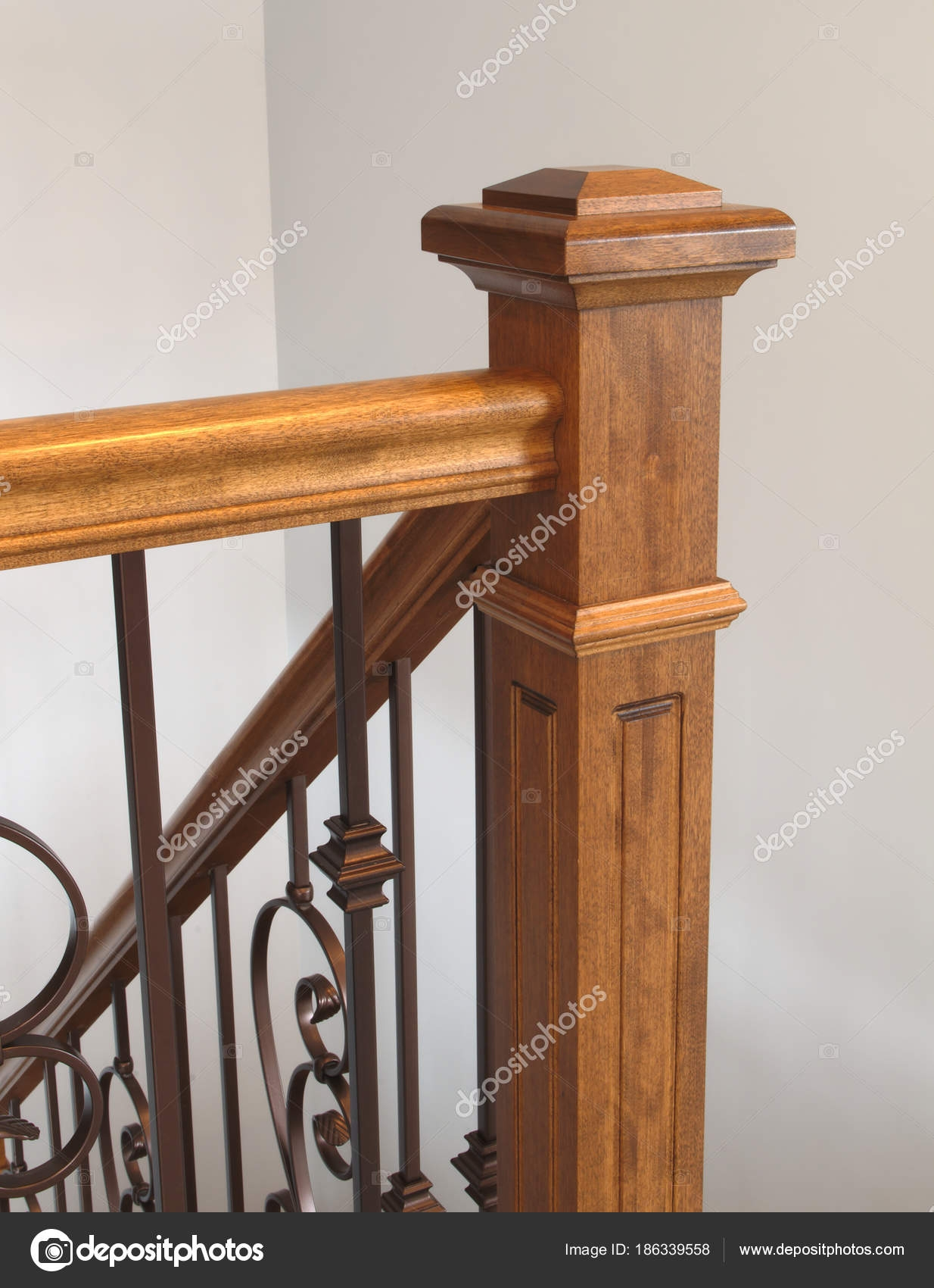 Pictures Wood Handrails Wood Stairs Newel Handrail Staircase | Interior Handrails For Steps | Aircraft Cable | Wrought Iron | Western | Closed Staircase | Stair Bannister