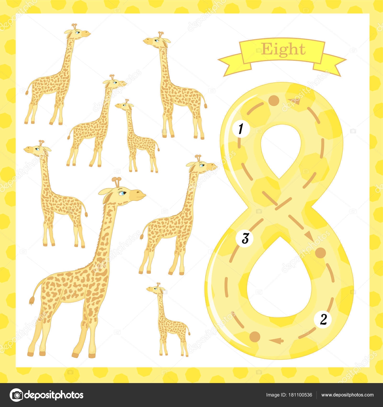 Cute Children Flashcard Number One Tracing With 8 Giraffes
