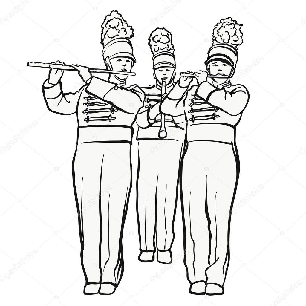 Banda Marcial Historica Com Aljava Flautas Desenho
