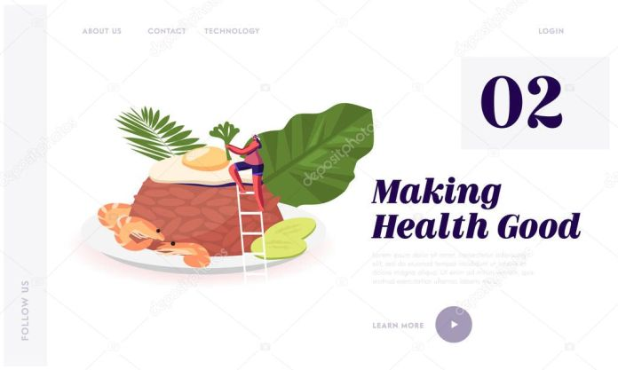Indonesian Cuisine Website Landing Page Woman At Traditional Malaysian Meal Nasi Goreng Fried Rice With Shrimps And Egg Garnished With Fresh Cucumber Web Page Banner Cartoon Flat Vector Illustration Premium Vector