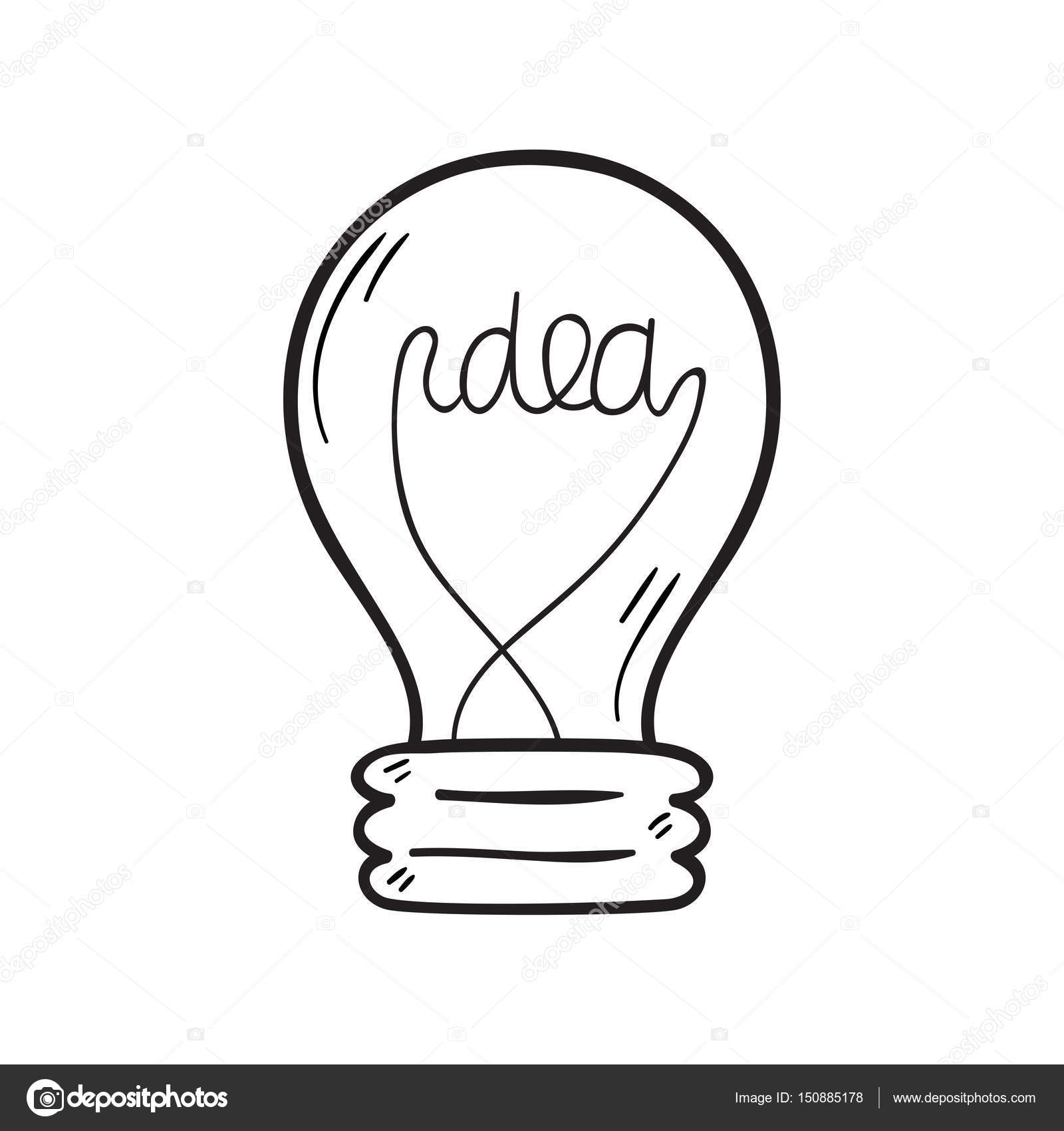Cartoon Lamp Light Bulb Design Flat Vector Illustration