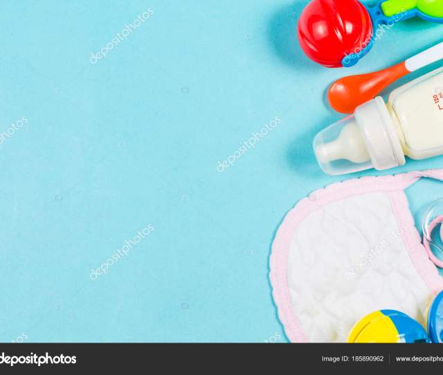 Baby Care Wooden Toys Nipples And Bottle Powders Are Separate Stock Photo