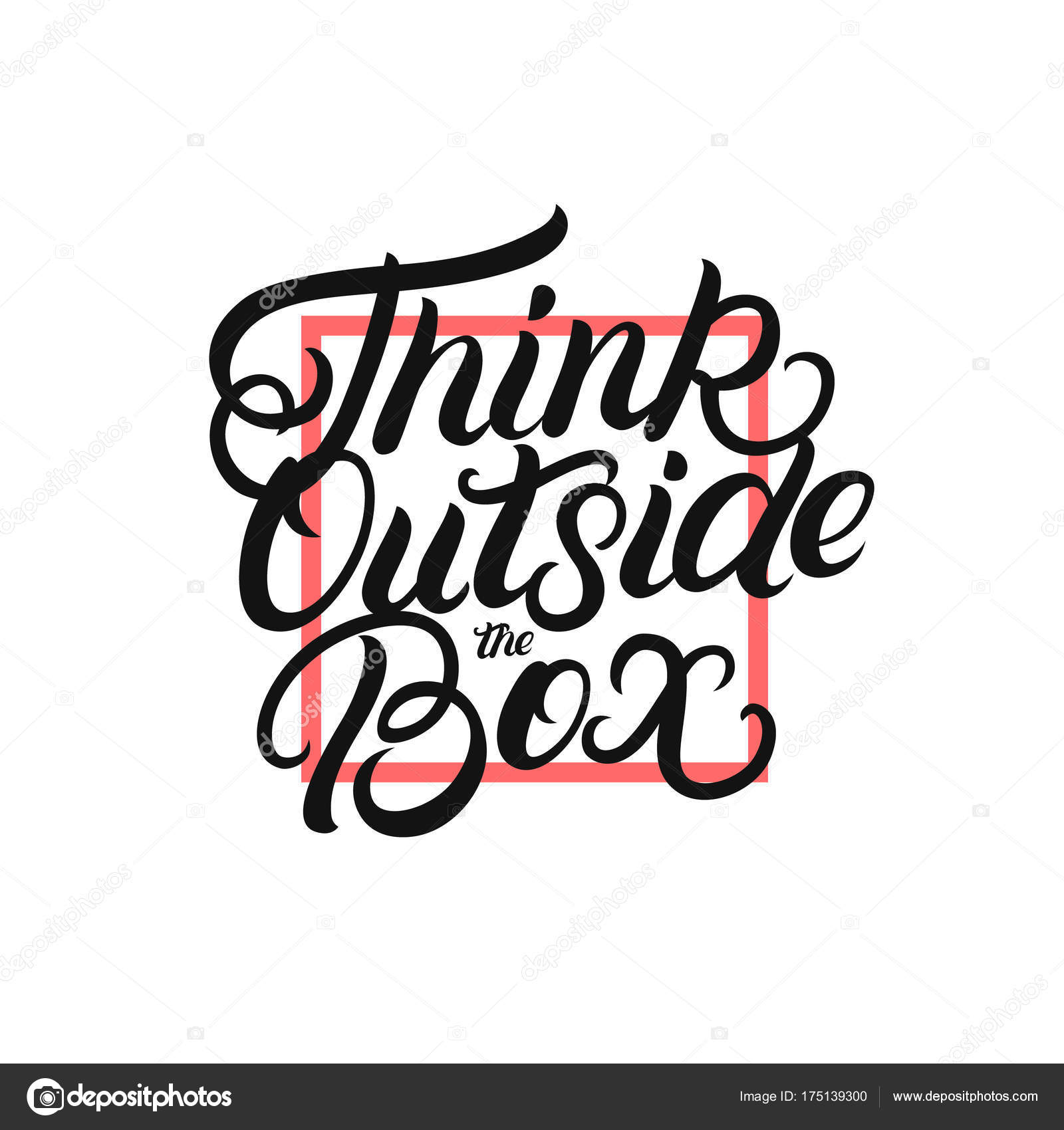 Think Outside The Box Hand Written Lettering Poster