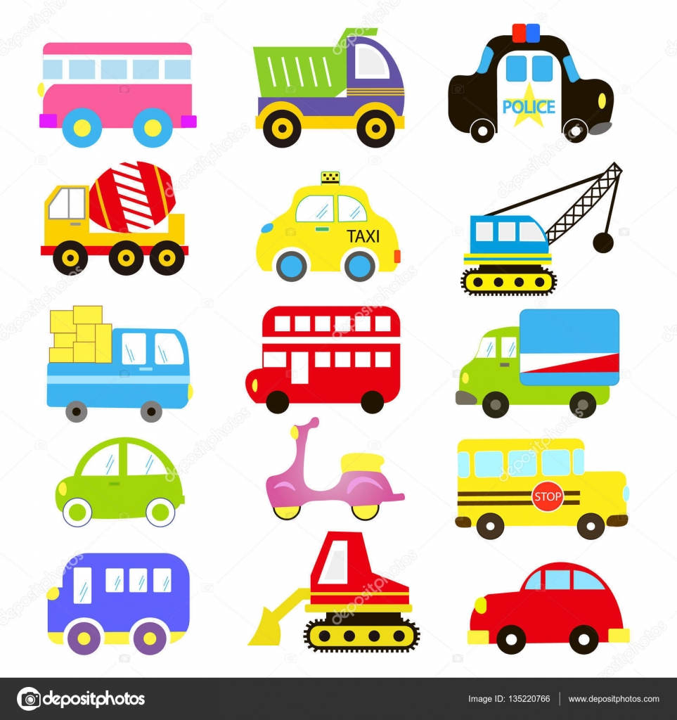 Vector Of Transportation Theme With Car Vehicle Truck