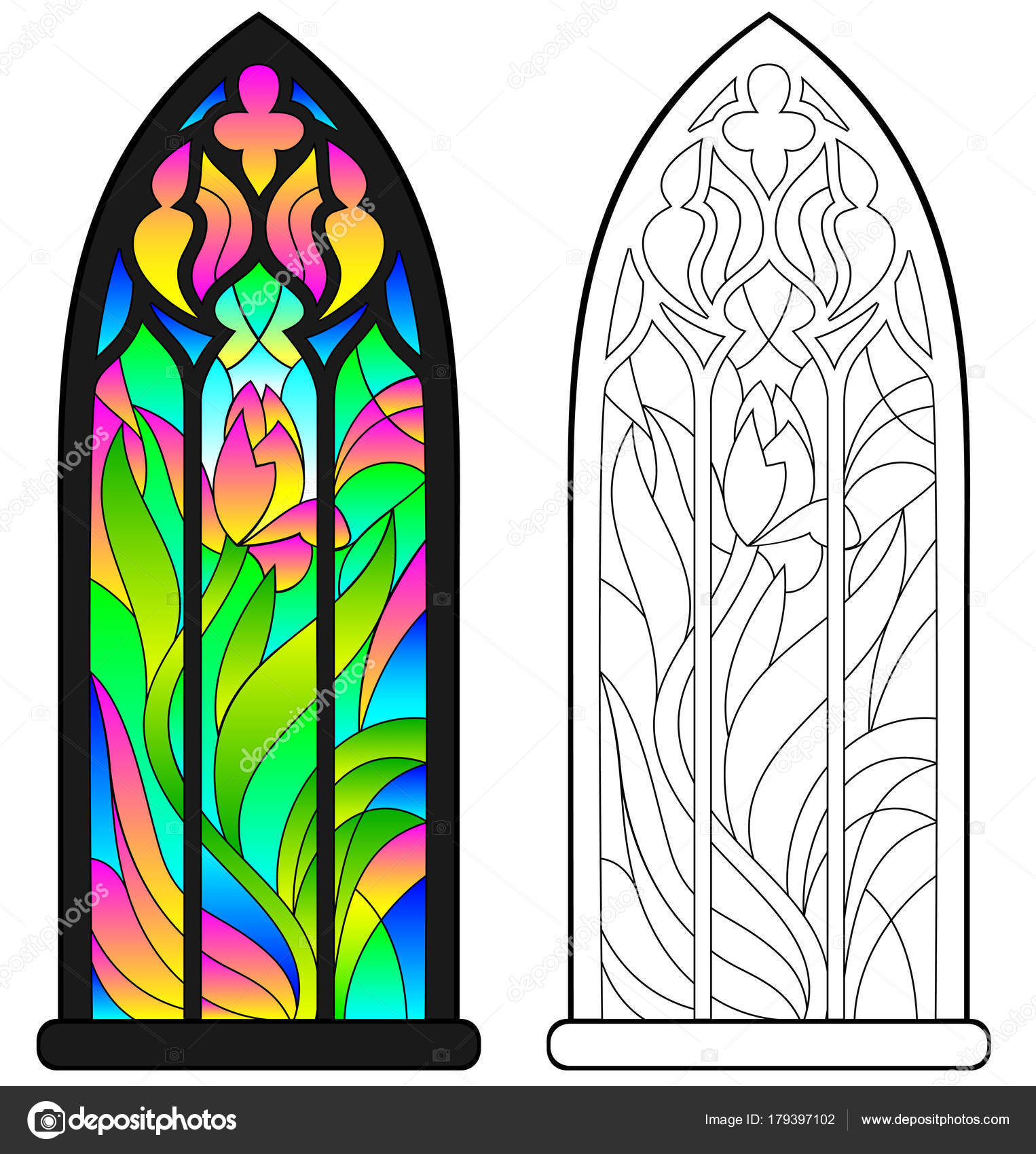 Colorful Black White Pattern Gothic Stained Glass Window