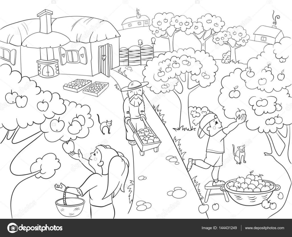 Criancas Colorir Desenhos Animados Sobre O Tema Do Vetor