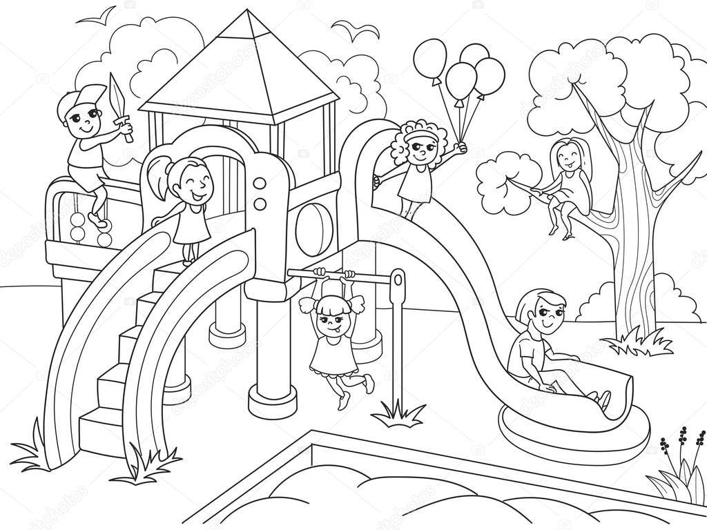Coloriage D Aire De Jeux Pour Enfants Illustration