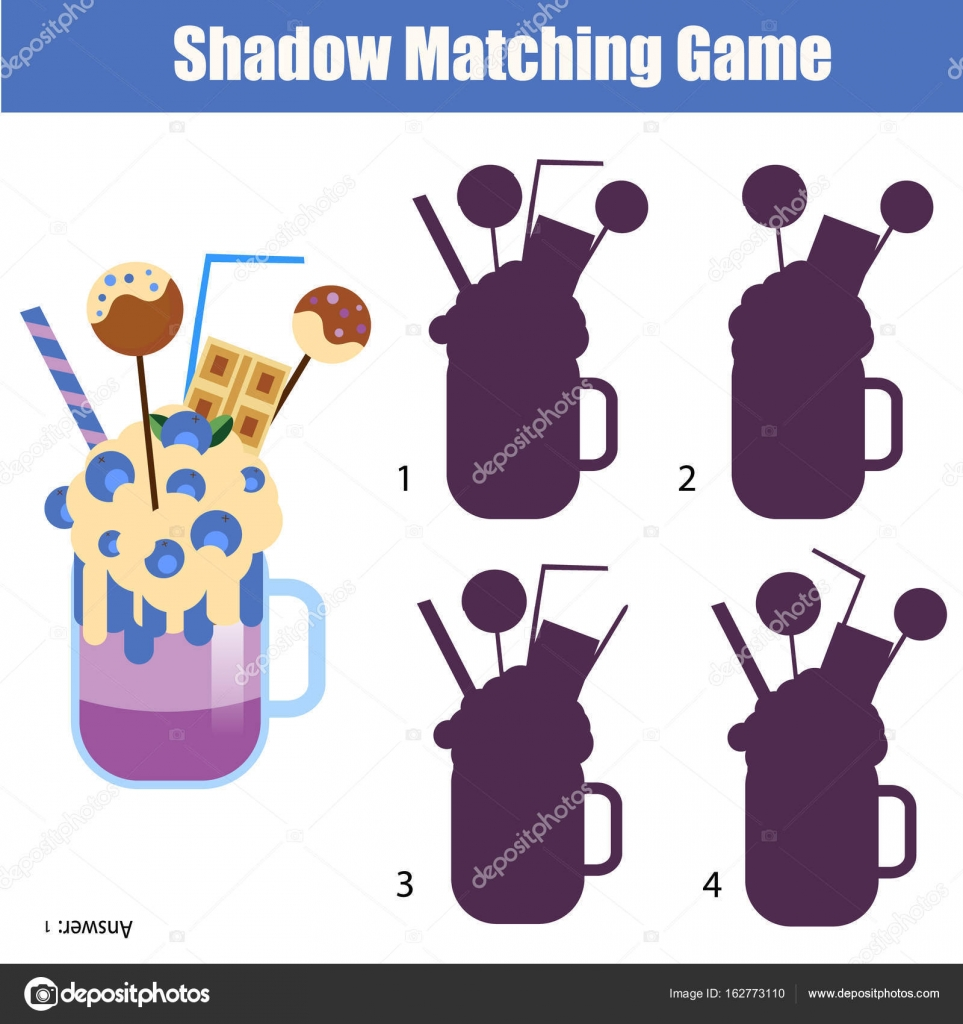 Shadow Matching Game Find The Correct Silhouette For Milk