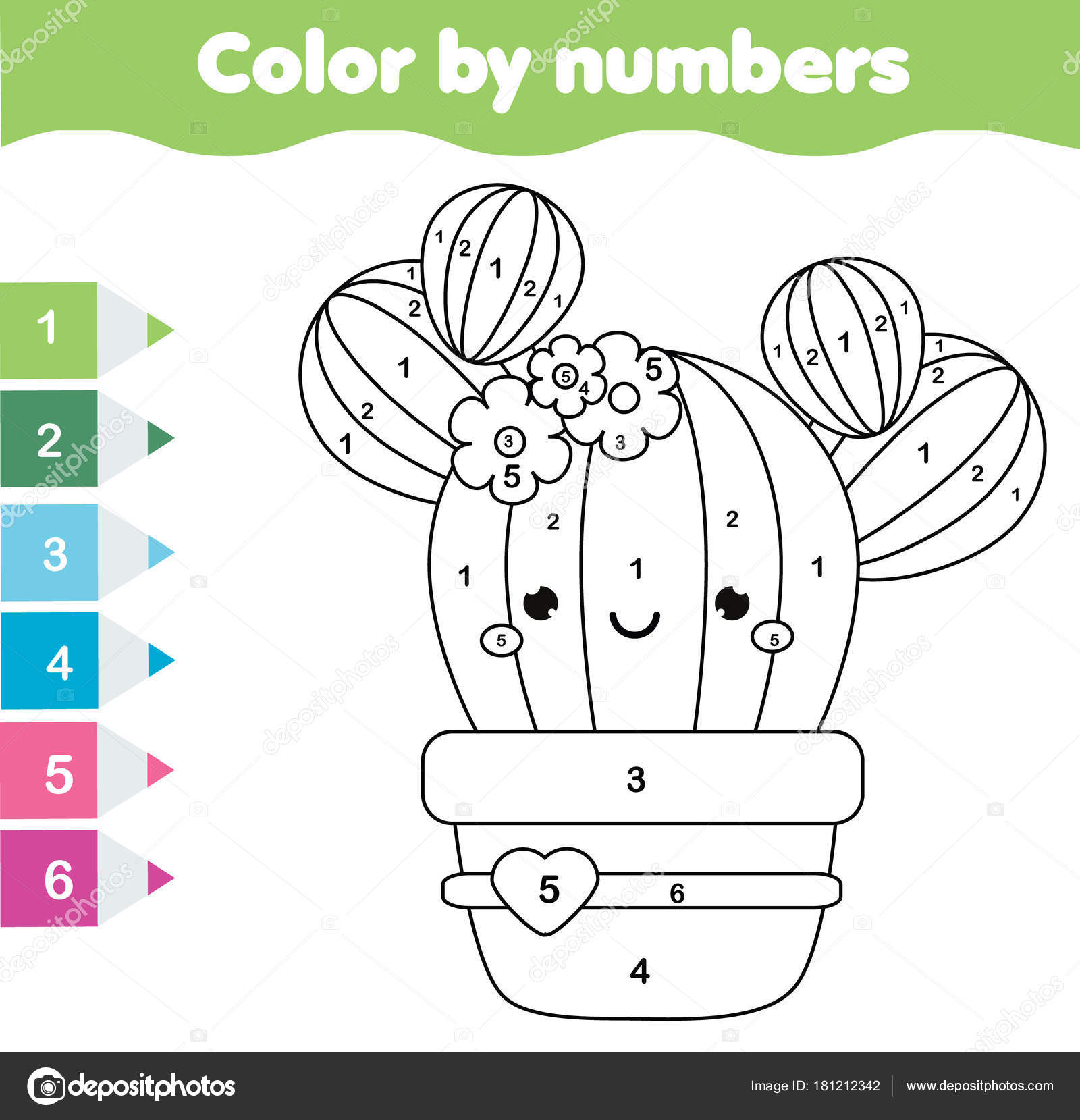 Children Educational Game Coloring Page Cute Cactus Color