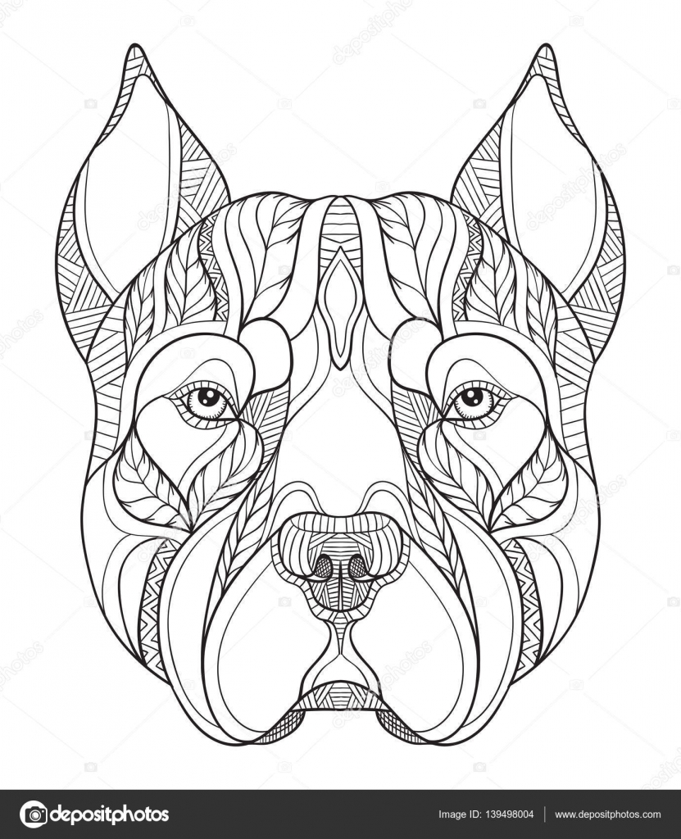 Pit Bull Terrier Head Zentangle Stylized Vector