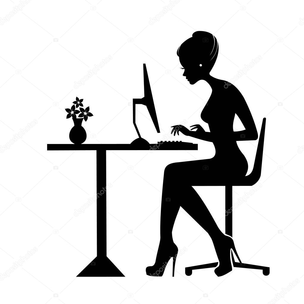Silhouette Noire D Une Femme Assis Derriere Une Icone De