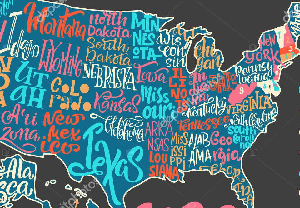 HD Decor Images » Silhouette of the map of USA with hand written names of states     Silhouette of the map of USA with hand written names of states       Stock