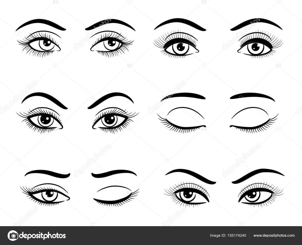 Conjunto De Aberto E Fechado Os Olhos Feminino