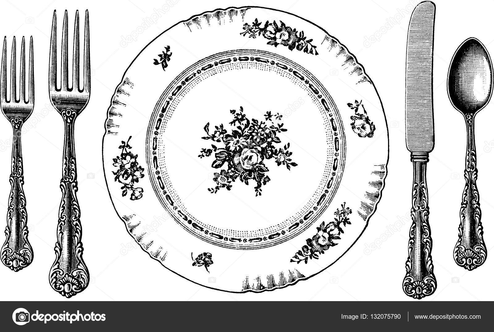 Plate Knife Fork And Spoon Clip Art Sketch Coloring Page