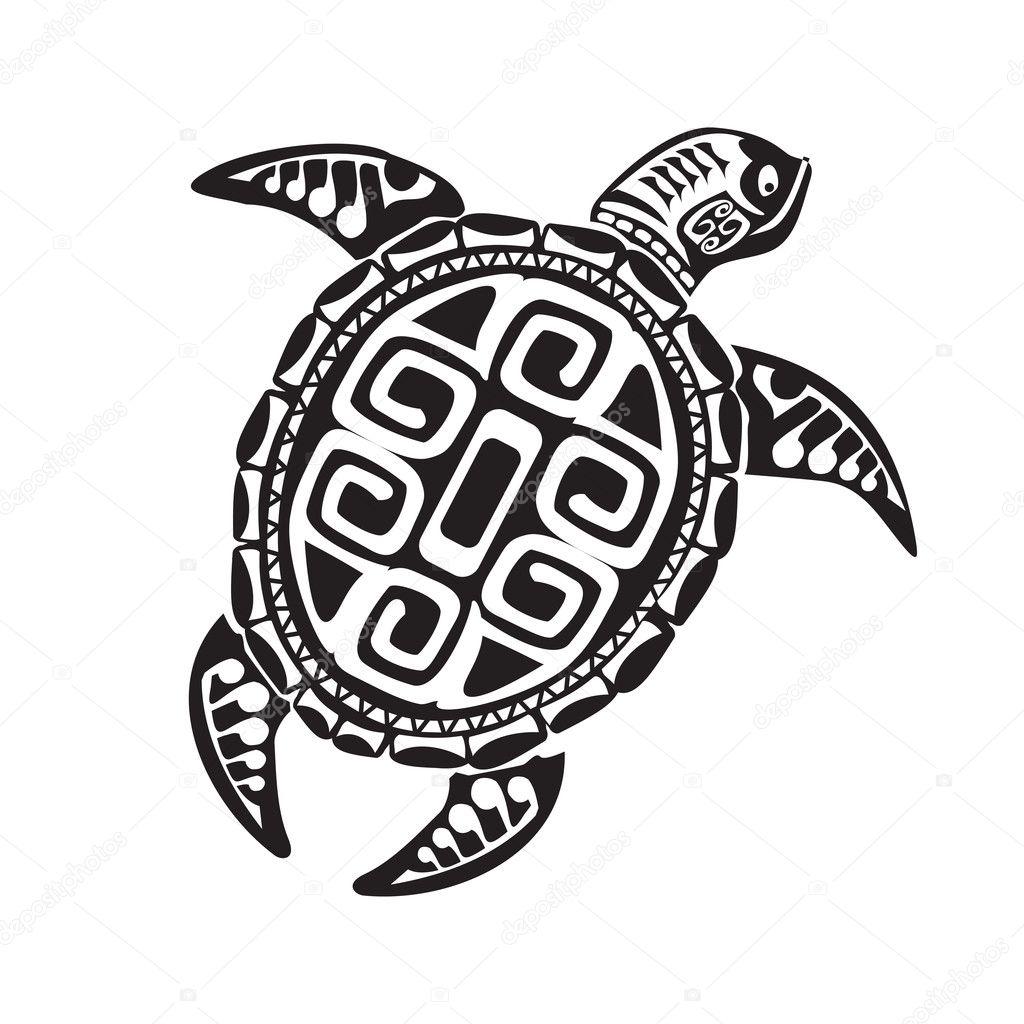 Turtle Tattoo In Maori Style Vector Illustration Eps10