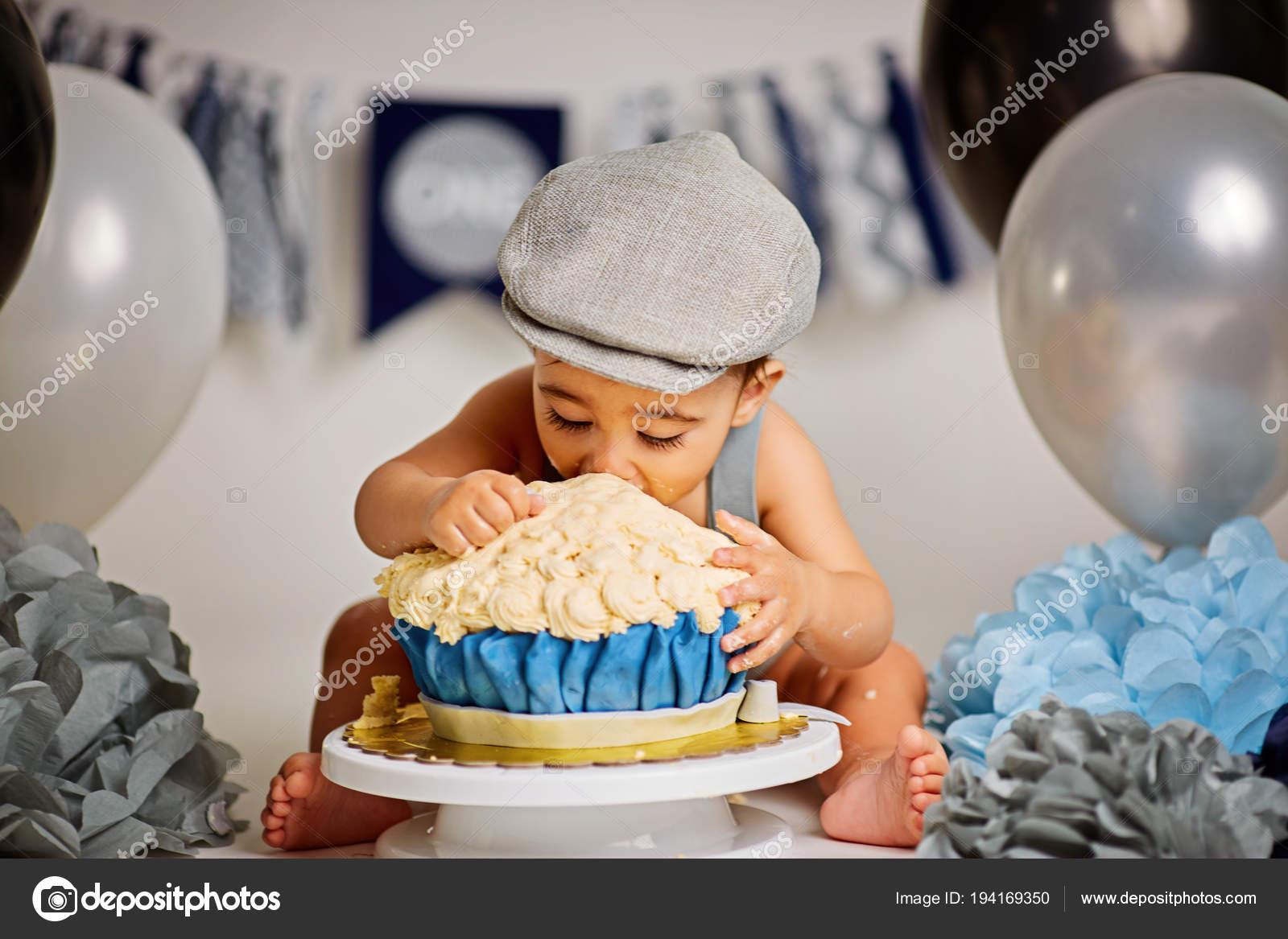 One Year Old Baby Boy Smashing Blue Iced Birthday Cake Stock Photo Image By C Pavlovski Info Gmail Com 194169350