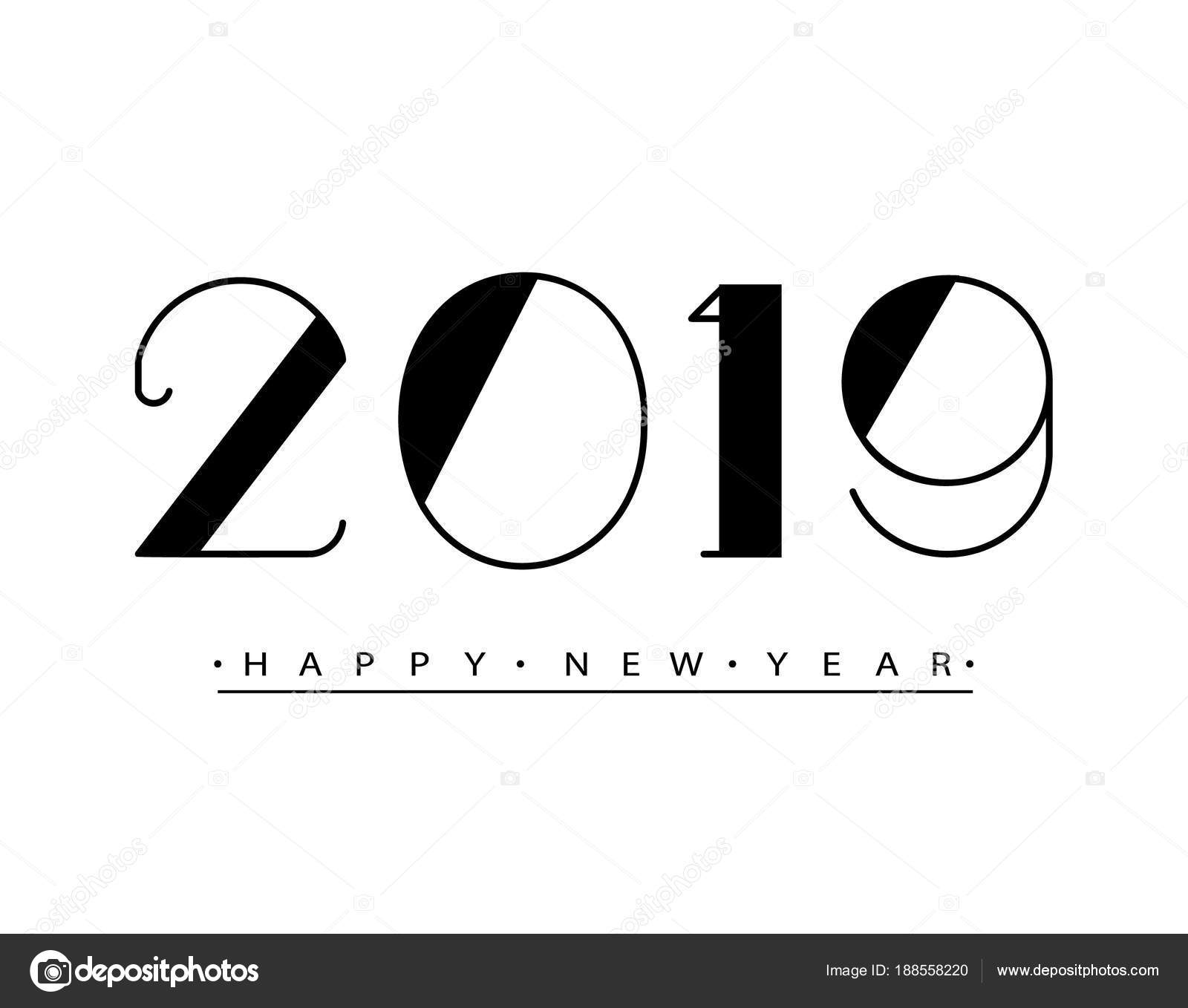 Happy New Year Text Design Vector Illustration
