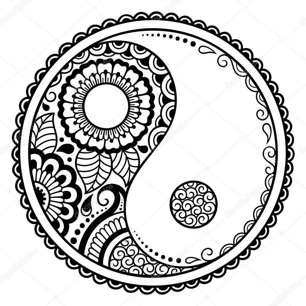 Circular Pattern Yin Yang Decorative Symbol Mehndi Style