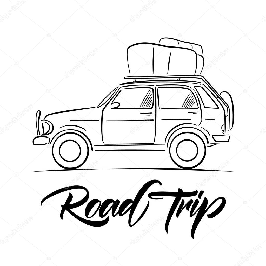 Hand Drawn Travel Car With Luggage On The Roof And