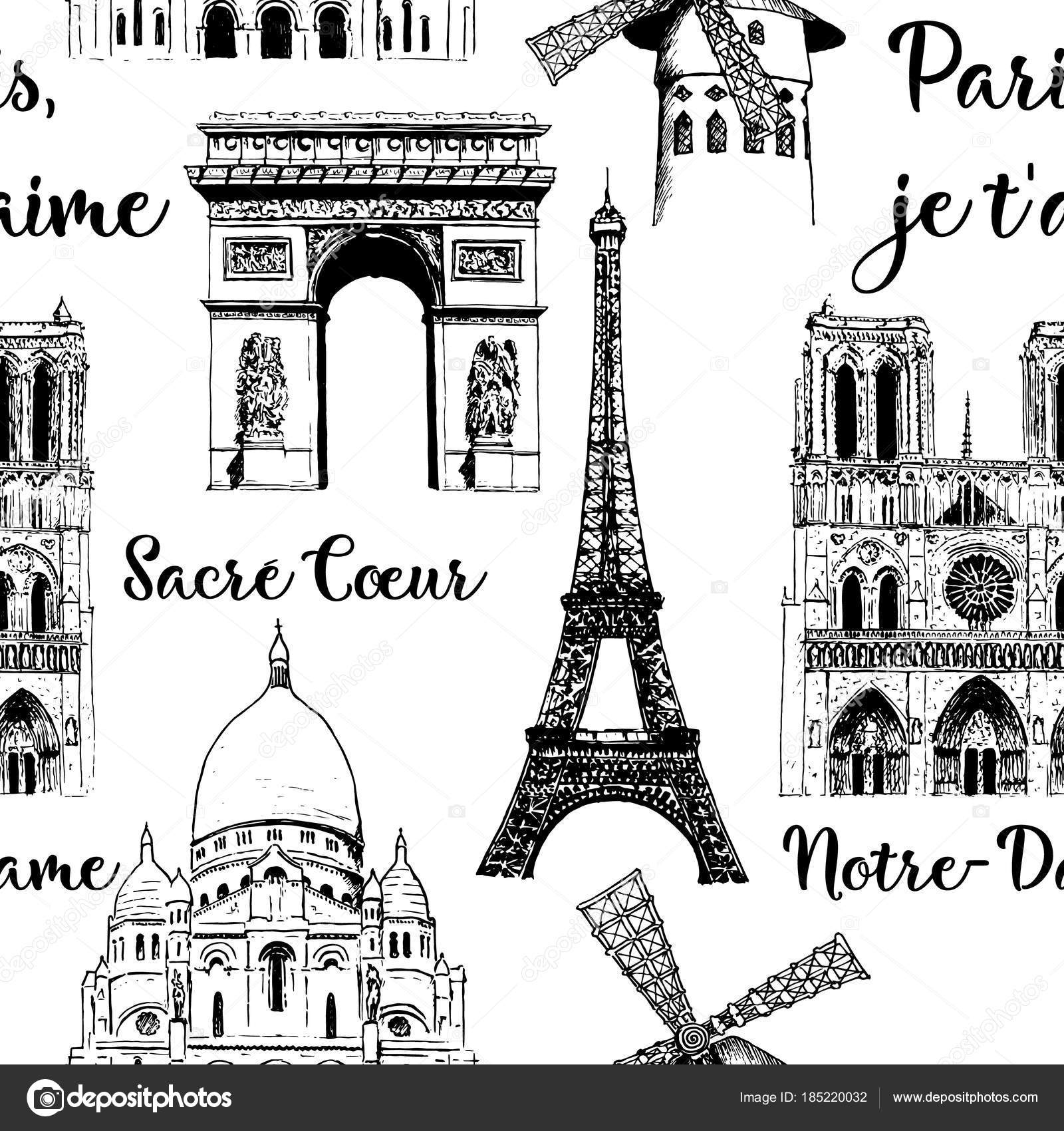 Paris Sightseeing Seamless Pattern Set Eiffel Tower Arc