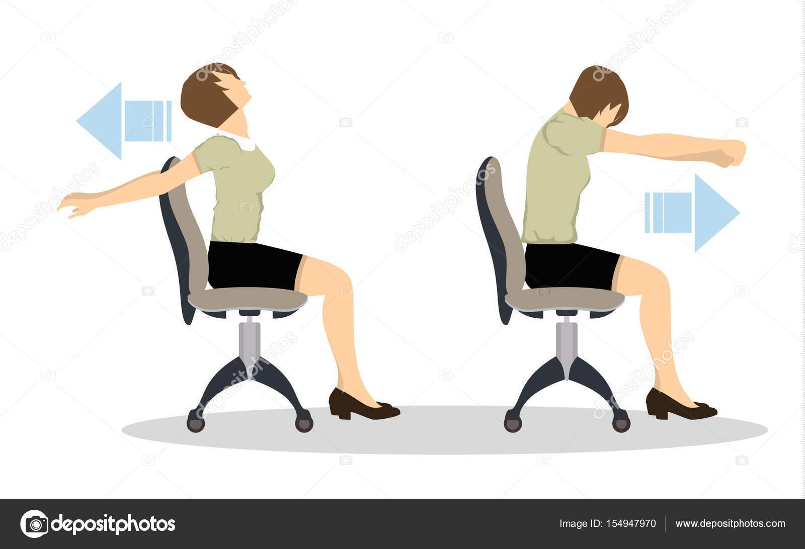 exercices de sport pour le bureau yoga de bureau pour les employes fatigues avec chaise et table etirement des epaules vecteur par