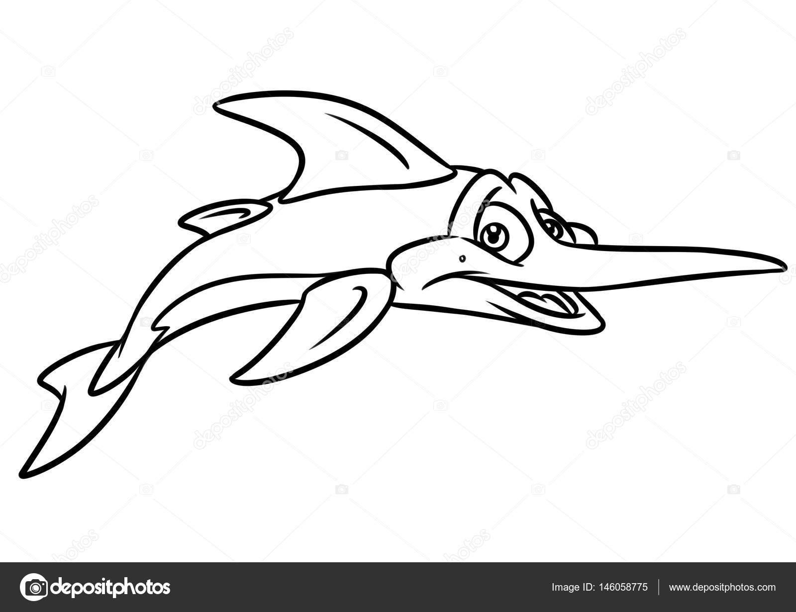 Swordfish Coloring Page Cartoon Illustrations Stock Photo