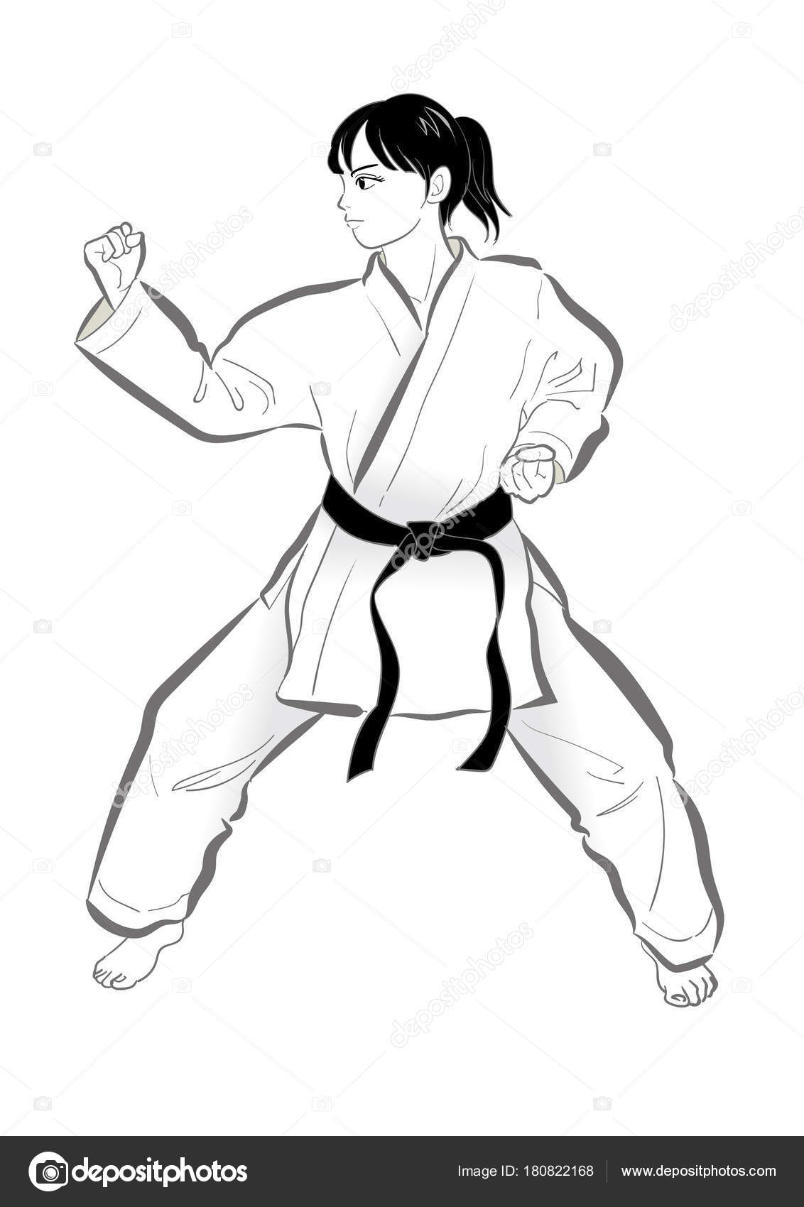Karate Pose Vector Material Japanese Culture