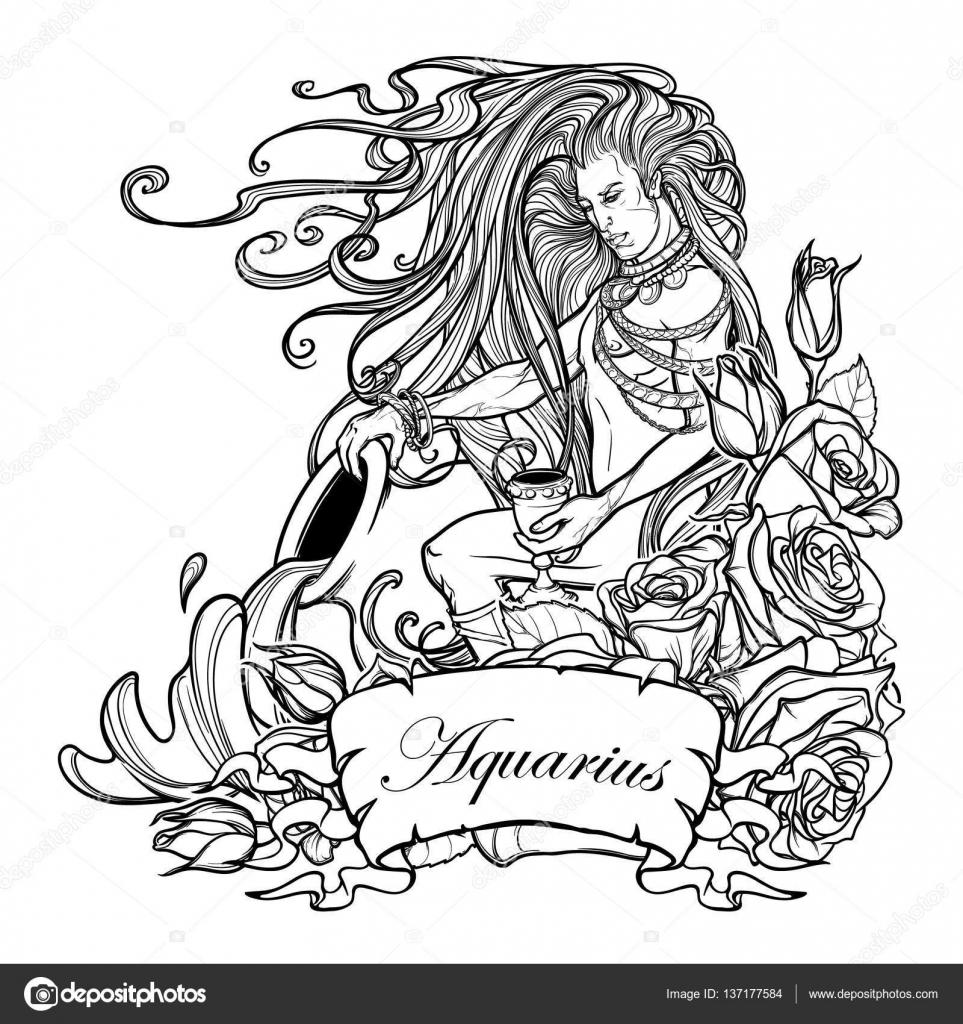 знак зодиака водолей красивый молодой человек с длинными волосами