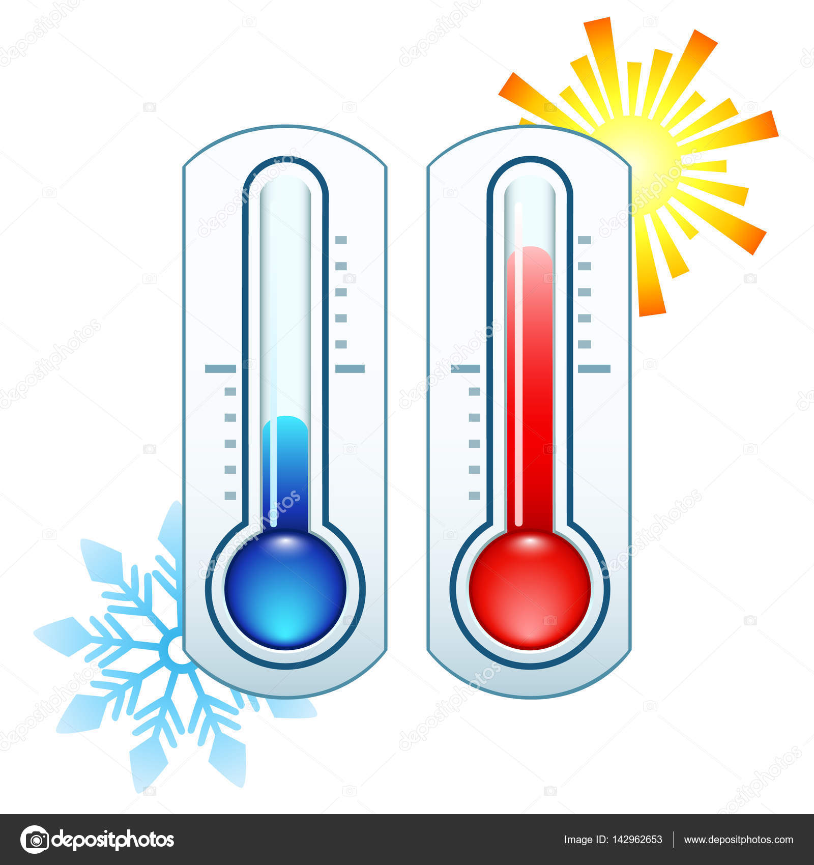 Thermometer Icon Measuring Hot And Cold Temperature