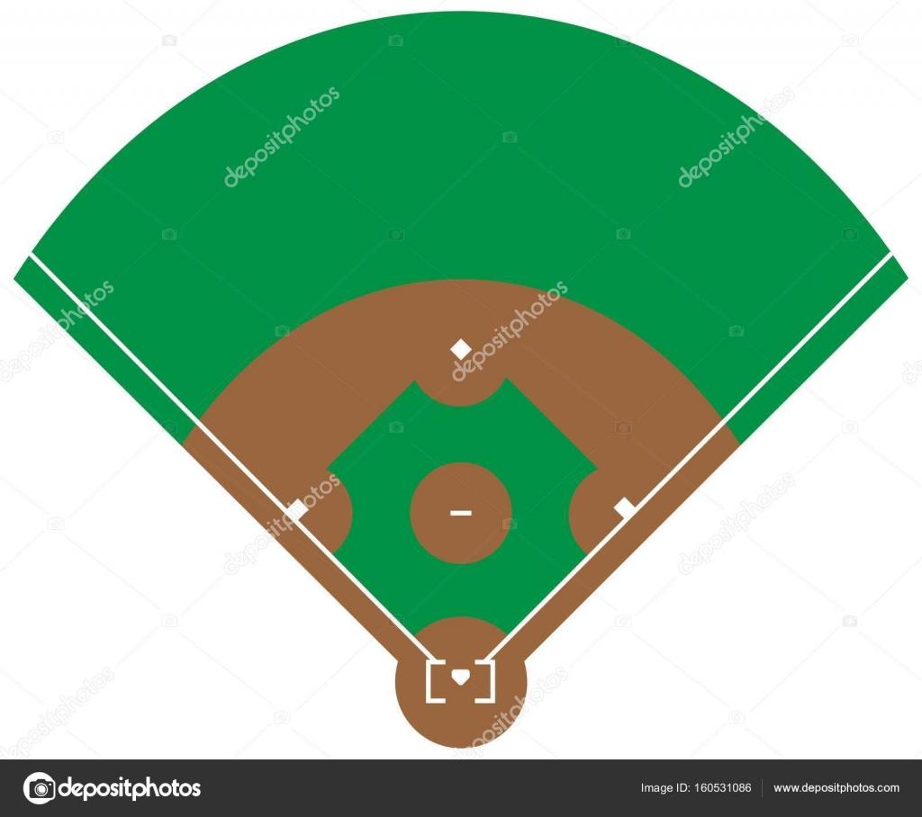 Campo De Hierba De Beisbol Plana Verde Base Con Plantilla