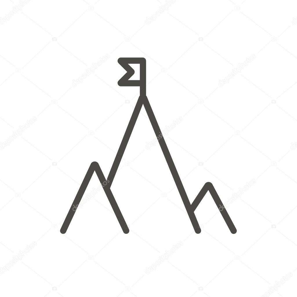 Berg Flag Icon Vektor Line Erfolg Symbol