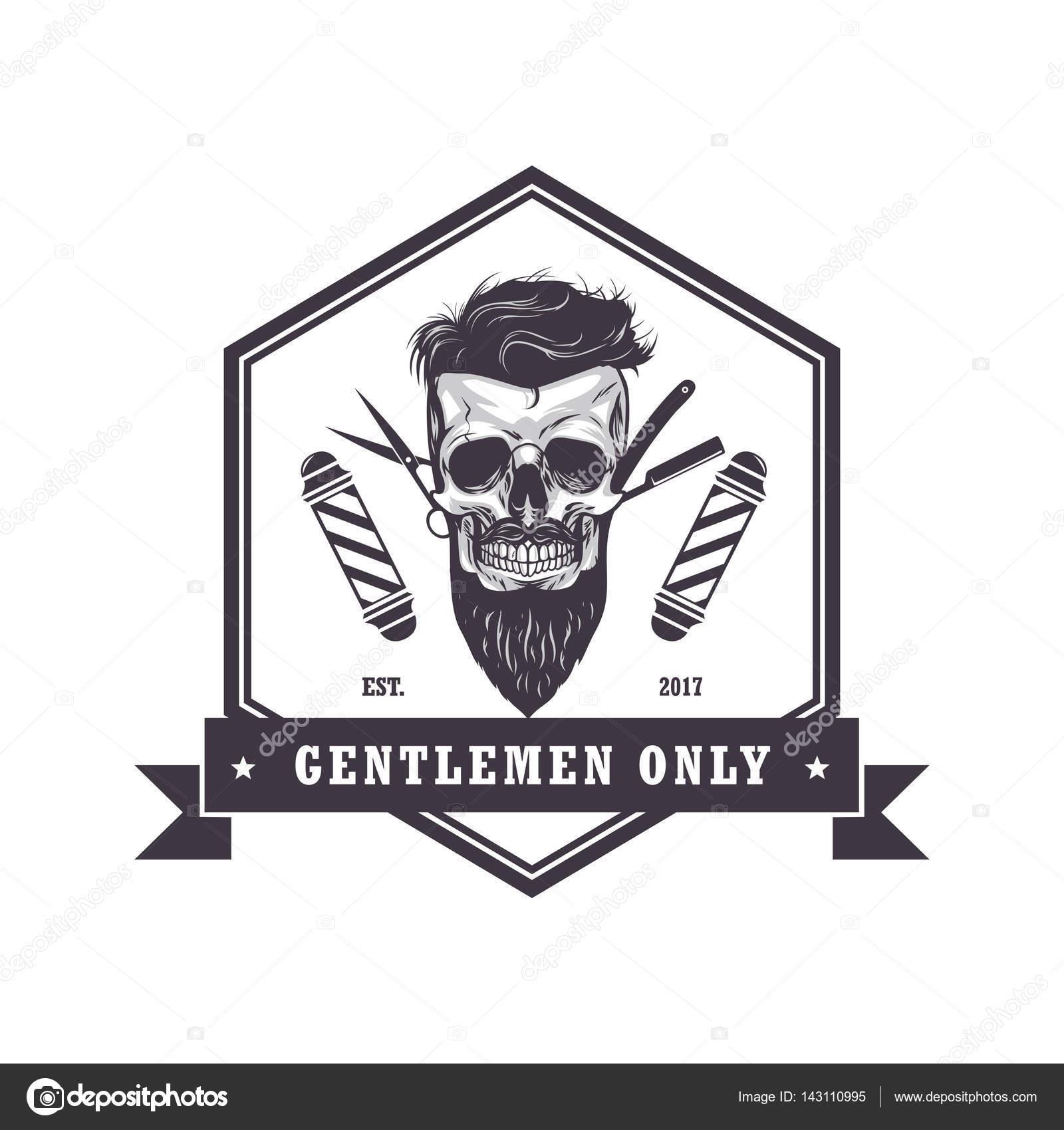 Skull Barber Shop Hexagonal Logo Retro Vintage Design