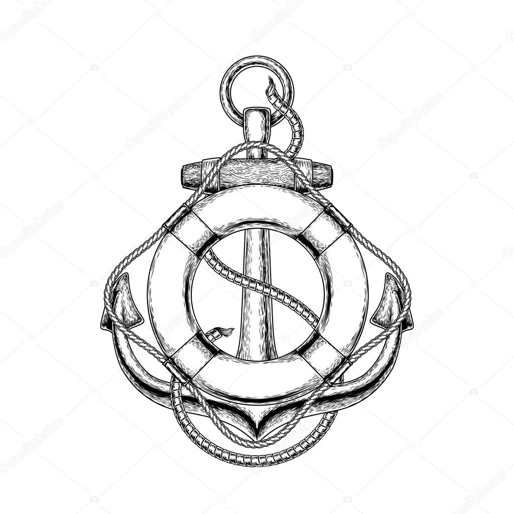 Vector Illustration Of An Old Nautical Anchor And Life