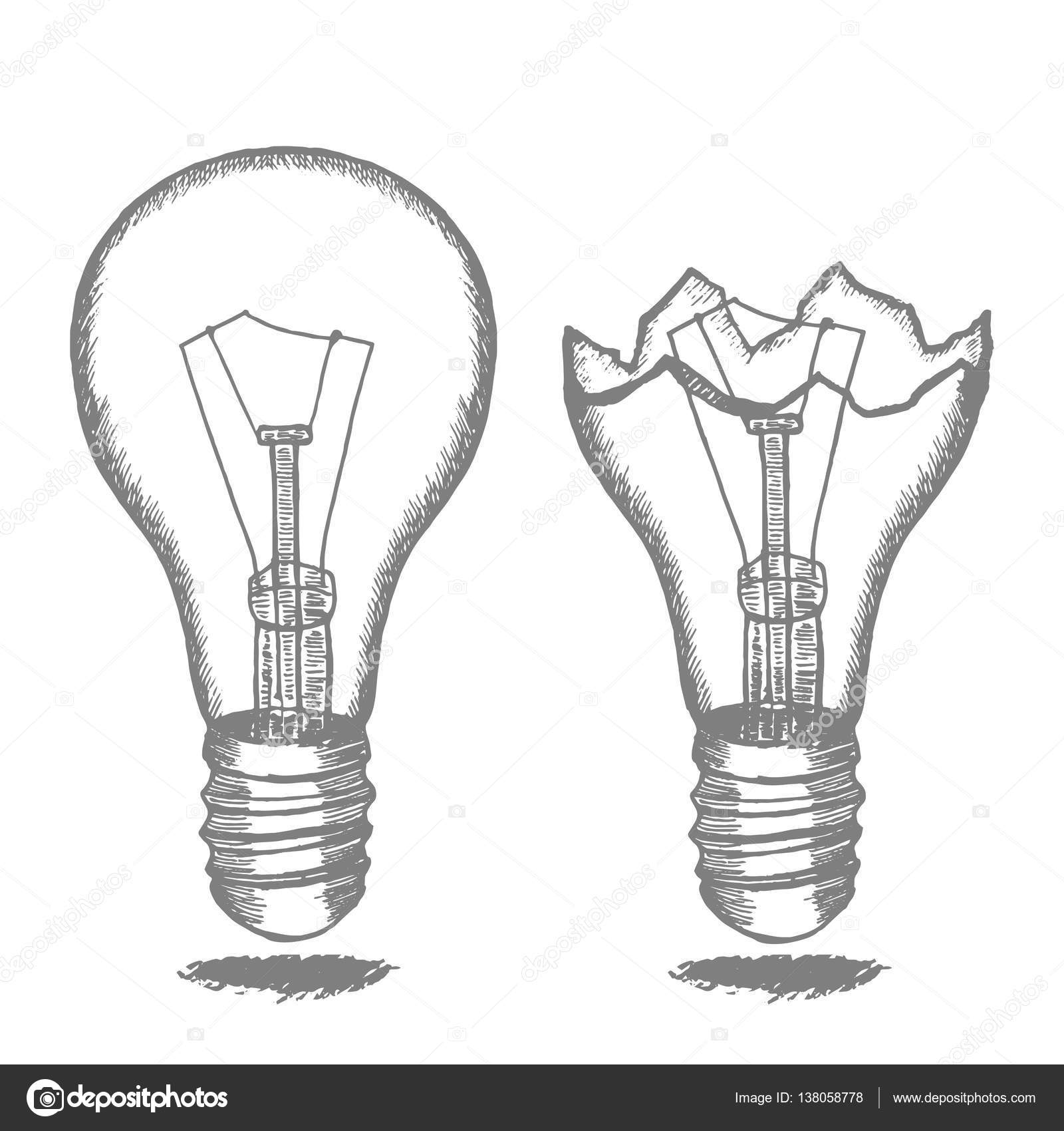 Lamp Bulb Hand Draw Sketch Vector