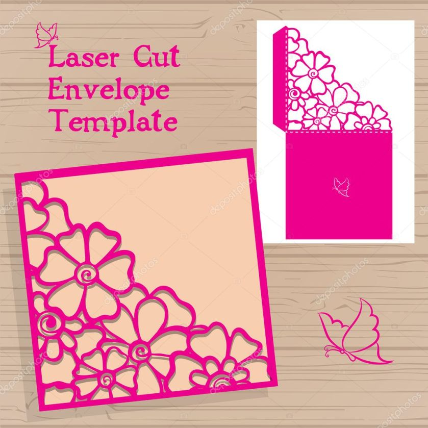 Lasercut Vector Wedding Invitation Template Envelope With Flowers For Laser Cutting Lace