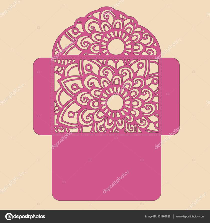 G Invitation Template Wedding Envelope With Flowers For Laser Cutting Lace Gate Folds