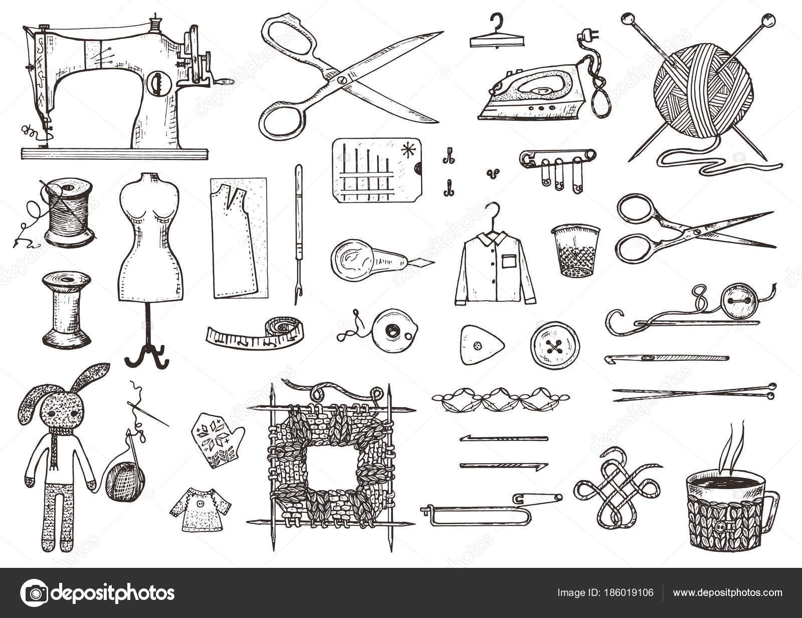 Set Von Nahwerkzeugen Und Materialien Oder Werkzeugen Zum