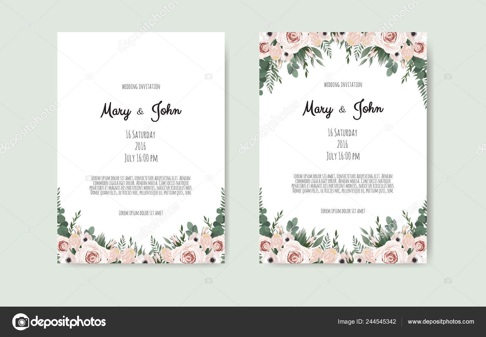 botanical wedding invitation card template design white and pink flowers on white background vector image by c anasteisha vector stock 244545342