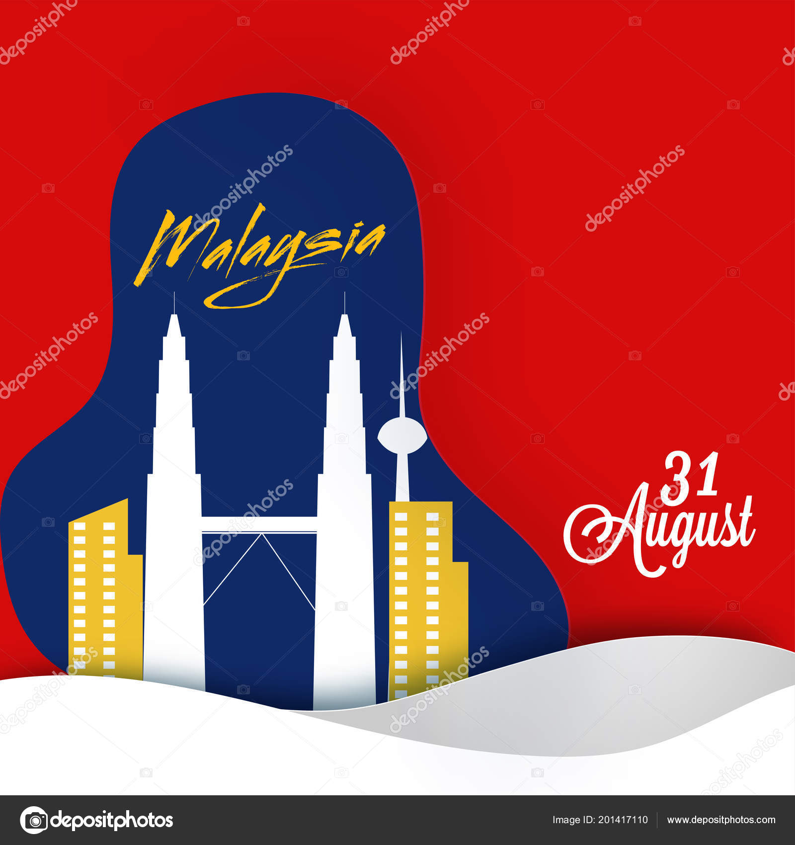 paper art petronas twin towers poster banner design 31st august vector image by c alliesinteract vector stock 201417110
