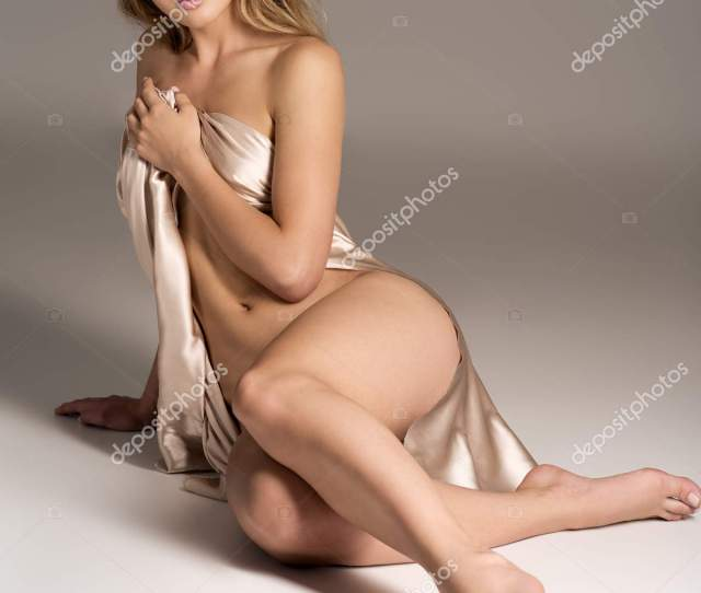 Sexy Fit Naked Woman Healthy Clean Skin Sitting Studio Beautiful