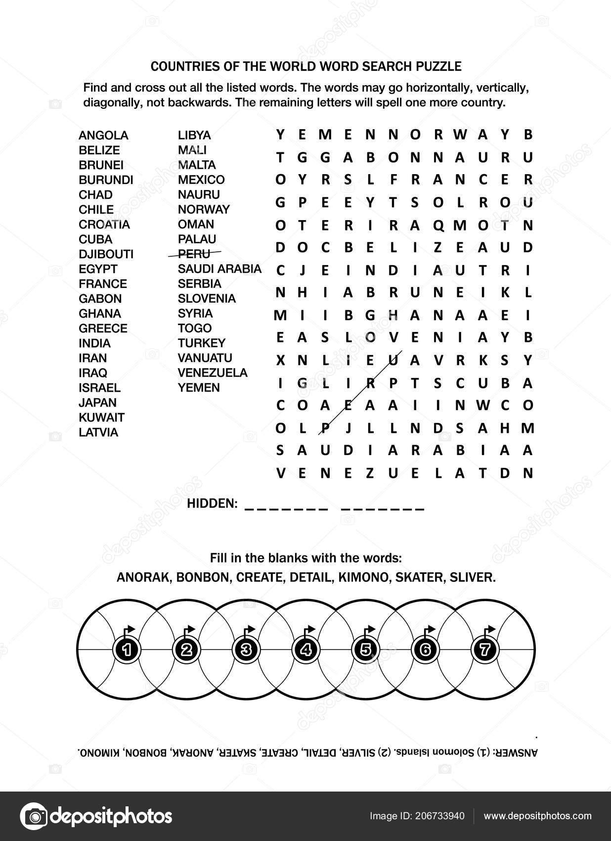 Iki Kelime Oyunlar Ingilizce Ile Sayfa Bulmaca Ulkeler