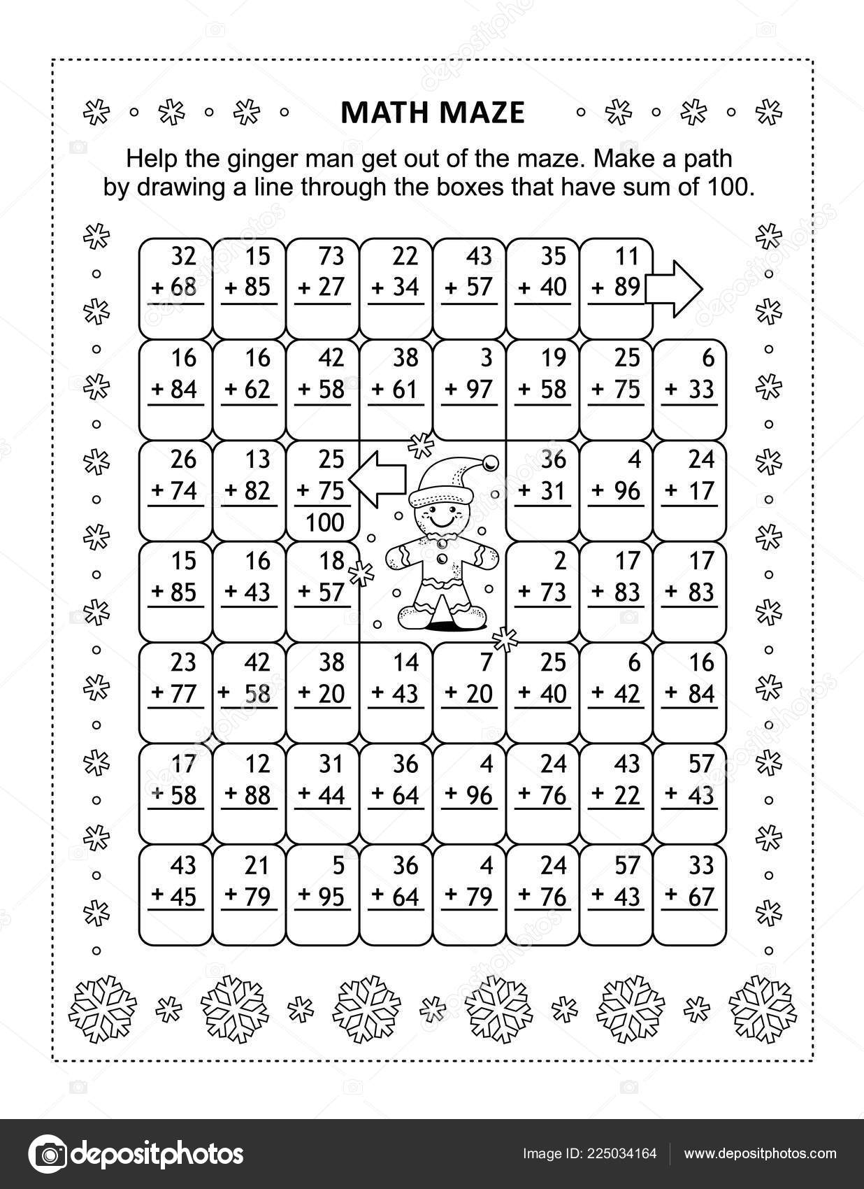 Math Maze Addition Facts Help Ginger Man Get Out Maze