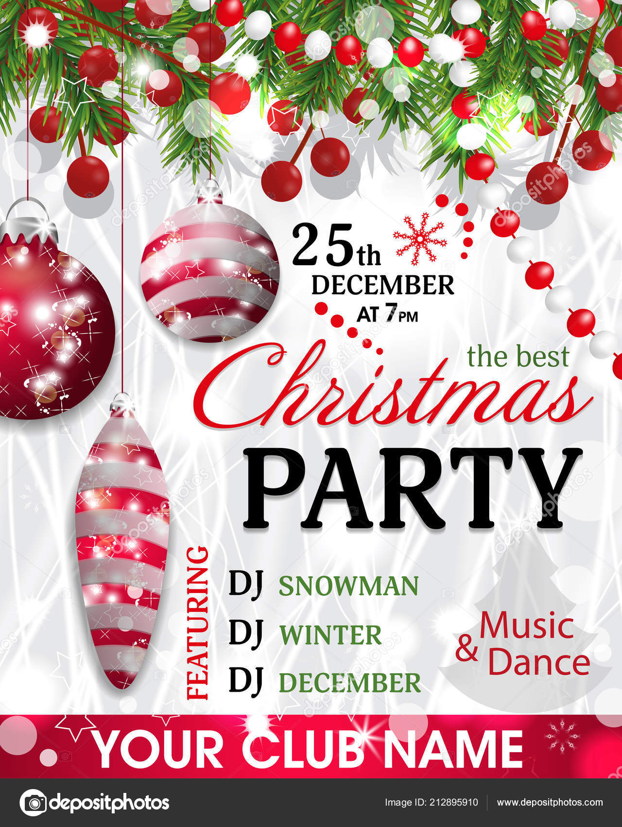 Christmas Party Invitation Template Background Fir