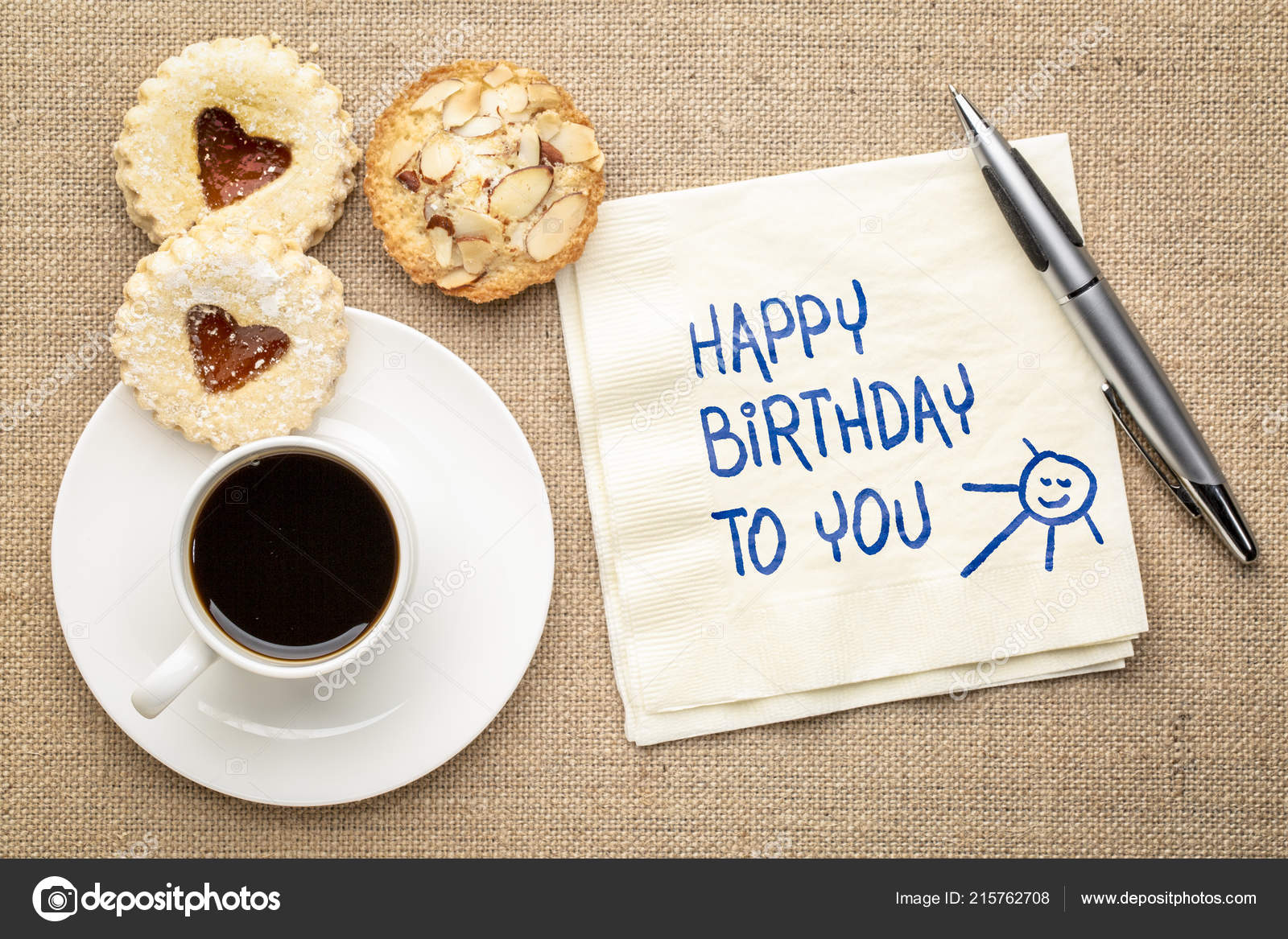 Happy Birthday You Greeting Card Handwriting Napkin Cup Coffee Cookies Stock Photo Image By C Pixelsaway 215762708