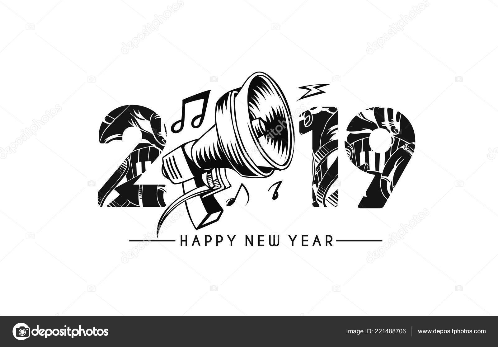 Gelukkig Nieuwjaar Tekst Met Muziek Element Ontwerp