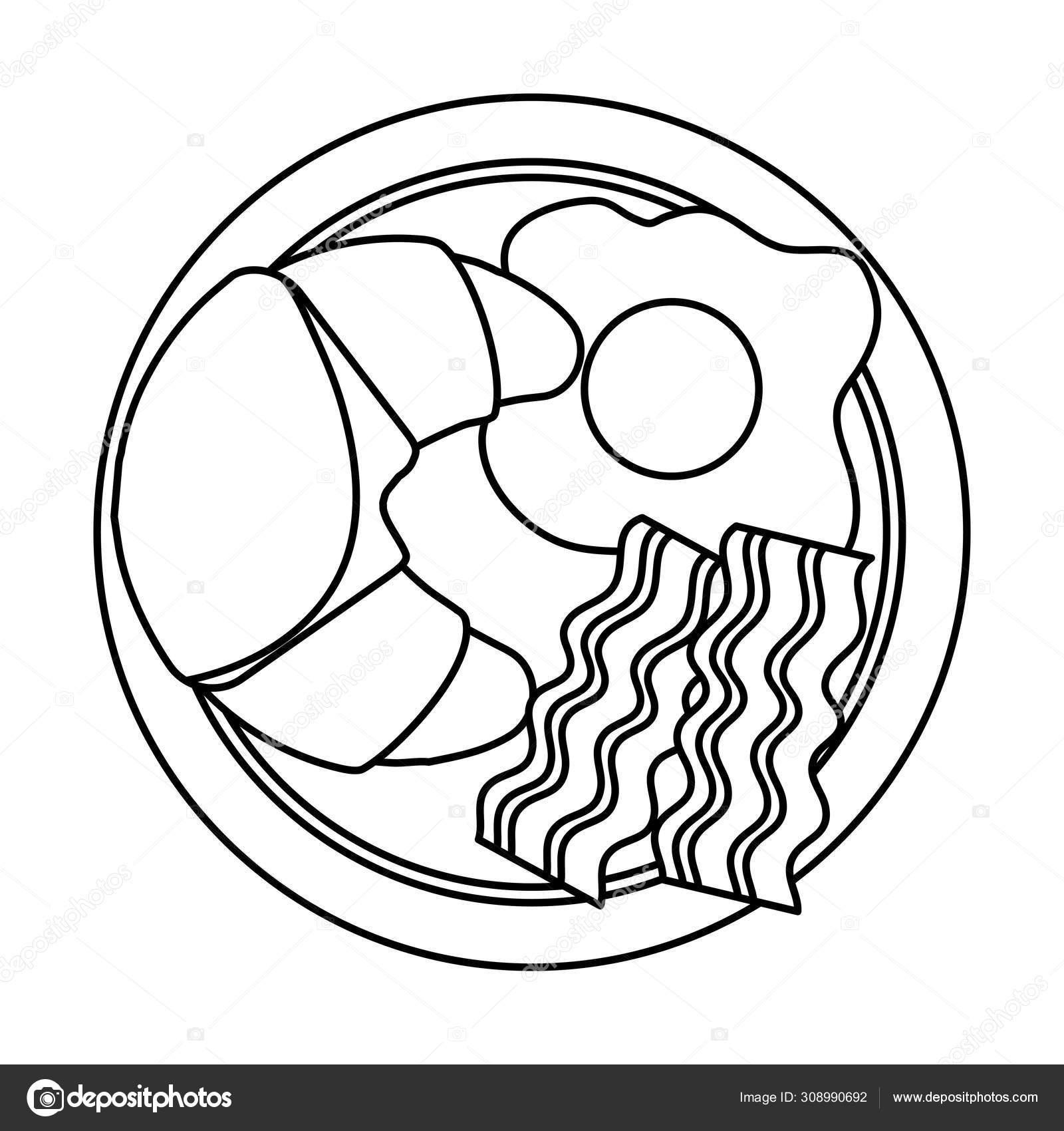 petit dejeuner isole oeuf et pain vecteur design image vectorielle par yupiramos c illustration 308990692
