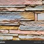 Decorative Stone Wall Cobble Texture With Cracks Stock